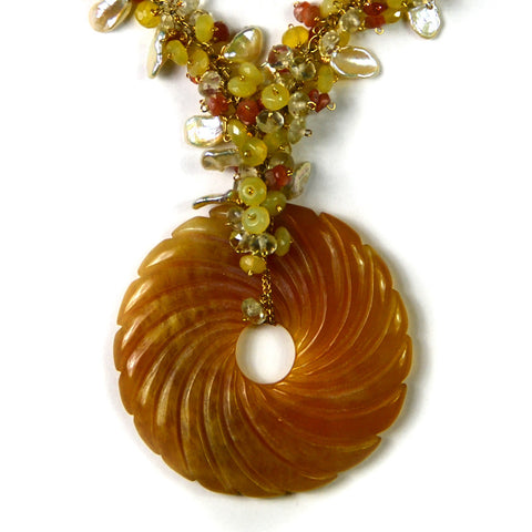 Necklace, Yellow Opal, Citrine, Sun Stone