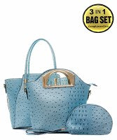 Fashion Faux Ostrich 3 in 1 Handbag Set