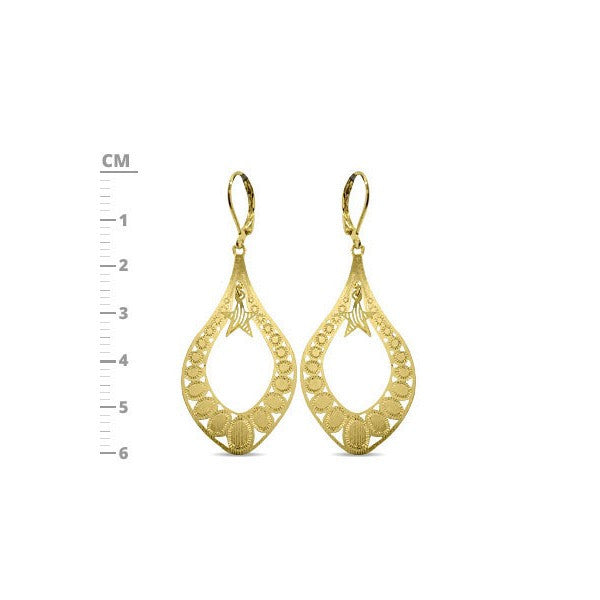 Hollow Tear Drop Designer Gold Plated Earring with Hanging Flower in Center