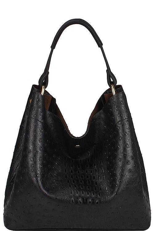 2 in 1 Ostrich Embossed Fashion Handbag