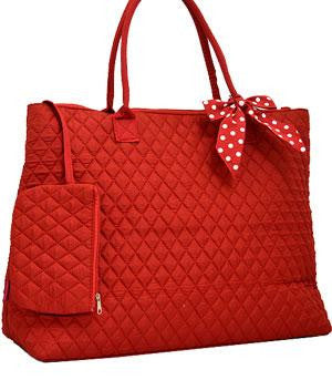 Solid Quilted Shopping Tote