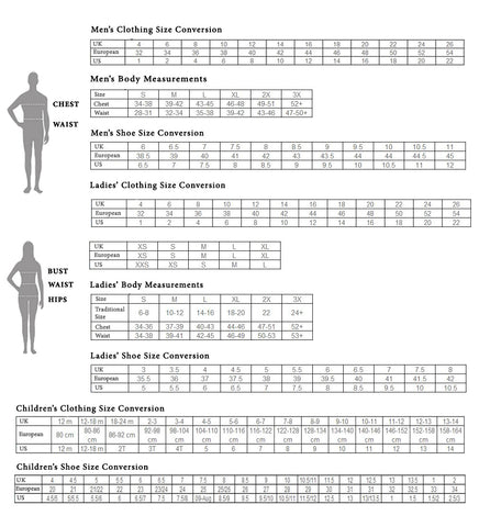 Size Chart Oasislync High Street Fashion