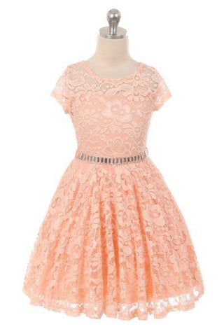 Girls' Peach Lace Skater Dress With Stone Belt - Oasislync