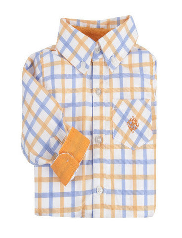 Andy & Evan Boys' Large Check Orange Shirt - Oasislync