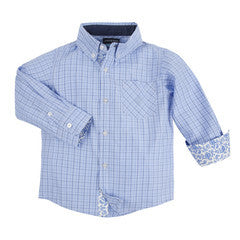 Andy & Evan Boys' Blue Mini Check Shirt - Oasislync