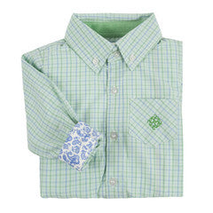 Andy & Evan Boys' Light Green Mini Check Shirt - Oasislync