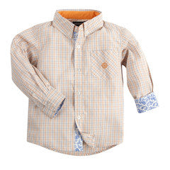 Andy & Evan Boys' Orange Mini Check Shirt - Oasislync
