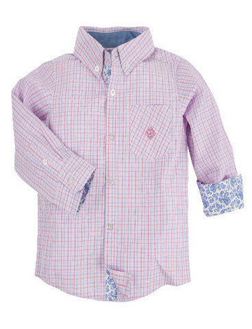 Andy & Evan Boys' Pink Mini Check Shirt - Oasislync