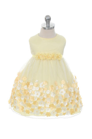 Baby Girl's Yellow Mesh Party Dress - Oasislync