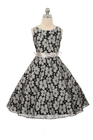 Black Flower Girl Holiday Lace Dress - Oasislync