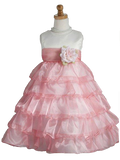 Crayon Kids Ivory and Coral Flower Girl Party Dress - Oasislync