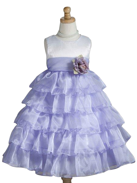 Crayon Kids Ivory and Purple Flower Girl Party Dress - Oasislync