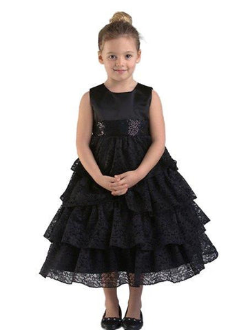 Crayon Kids Black Tulle Flower Girls' Party Dress - Oasislync