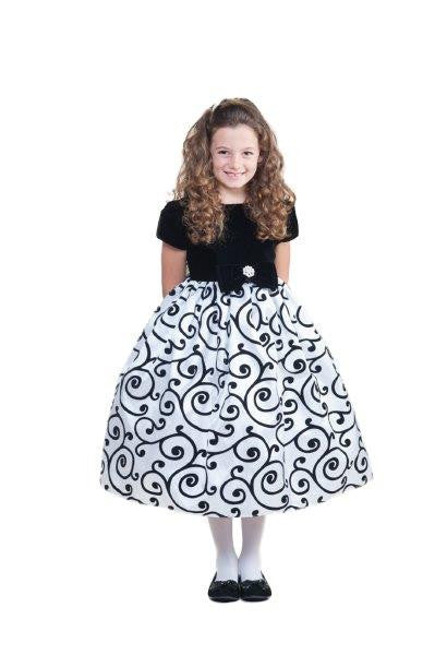 Crayon Kids Girls' White Black Velvet Party Dress with Sash - Oasislync