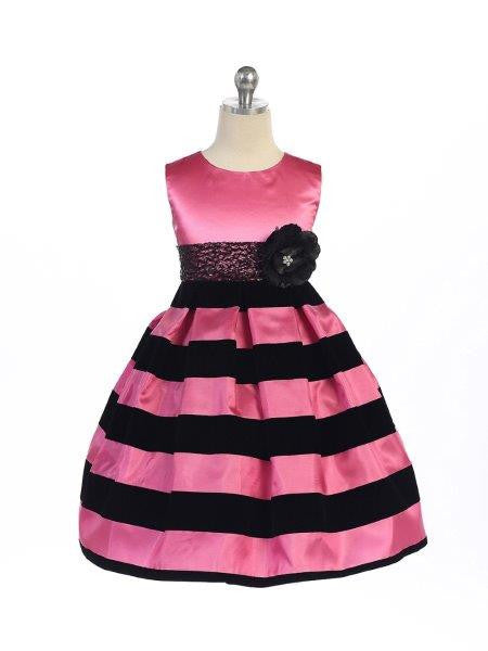 Crayon Kids Girls Black and Fuchsia Pink Stripe Velvet  Dress - Oasislync