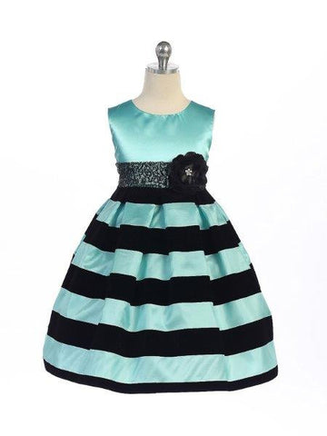 Crayon Kids Girls Black and Turquoise Stripe Velvet  Dress - Oasislync