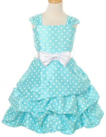 Girls' Aqua Blue Party Dress with Polka Dots - Oasislync
