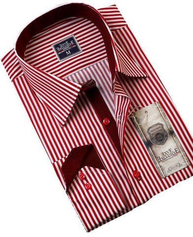 Red Striped Slim Fit Dress Shirt - Oasislync