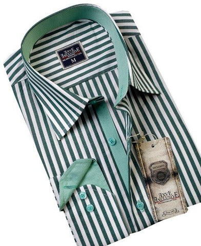 Green Striped Slim Fit Dress Shirt - Oasislync