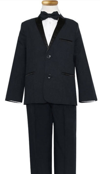 Boys' Tuxedo with Satin Lapel and Side Pants Stripes - Oasislync