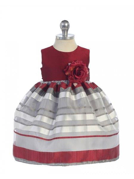 Baby Girls' Burgundy Grey Striped Party Dress - Oasislync