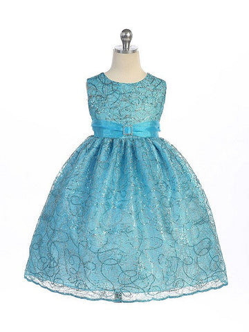 Crayon Kids Turquoise Blue Flower Girls' Party Dress with Silver Embroidery - Oasislync