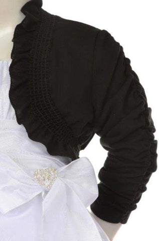 Girls' Black Bolero Jacket with Ruched Sleeves - Oasislync