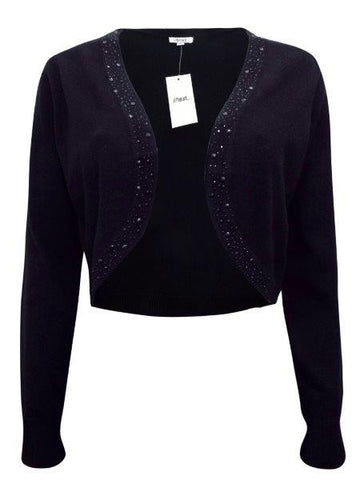 Black Embellished Fine Knit Long Sleeve Bolero Cardigan - Oasislync