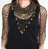 Black Gold Shawl Beaded Triangle Scarf - Oasislync