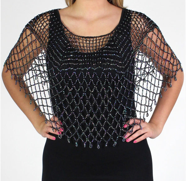Black Silver Beaded Crochet Evening Poncho Square Design - Oasislync