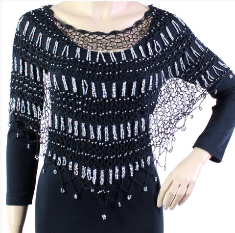 Black Silver Beaded Triangle Crochet Evening Poncho - Oasislync
