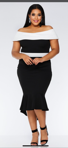 Plus Size Black and White Bardot Dip Hem Dress - Oasislync
