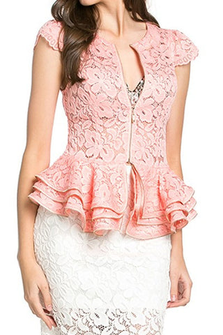 Blush Pink Cap Sleeve Lace Top with Layered Peplum - Oasislync
