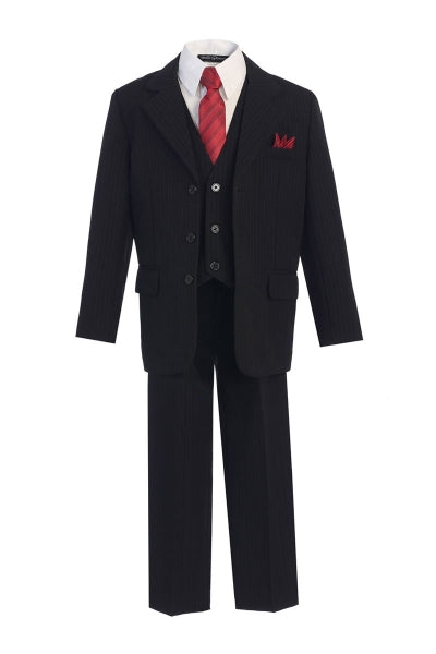 Boys' Black Pinstripe Suit with Vest, Red Tie and Red Pocket Square - Oasislync