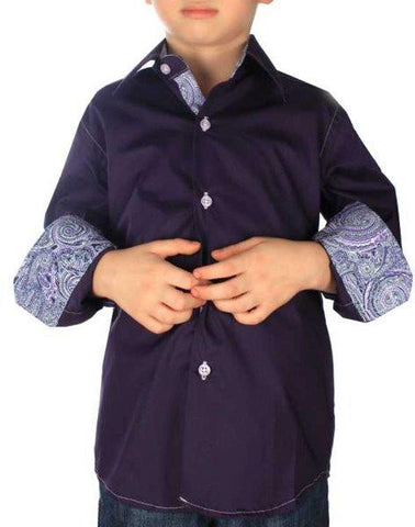Boys' Purple Button-Down Shirt - Oasislync