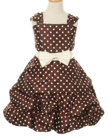 Girls' Chocolate Brown Party Dress with Polka Dots - Oasislync