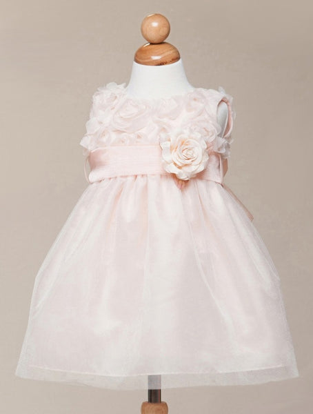Crayon Kids Baby Girls' Peach Floral Tulle Party Dress - Oasislync