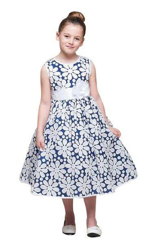 Crayon Kids Navy Blue White Flower Girls' Party Dress with Sheer Overlay - Oasislync