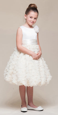 Crayon Kids Girls' Ivory Bubble Flower Girl Party Dress - Oasislync