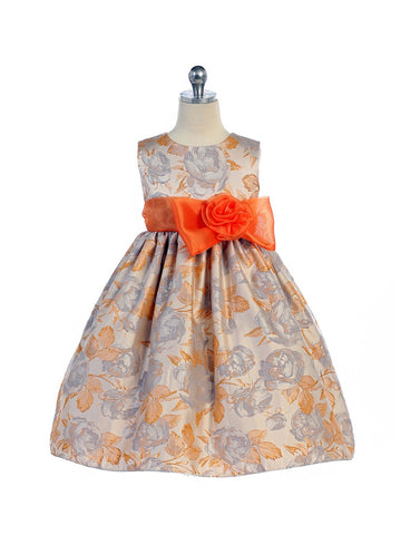 Crayon Kids Girls' Orange Ivory Flower Girl Party Dress with Bow - Oasislync
