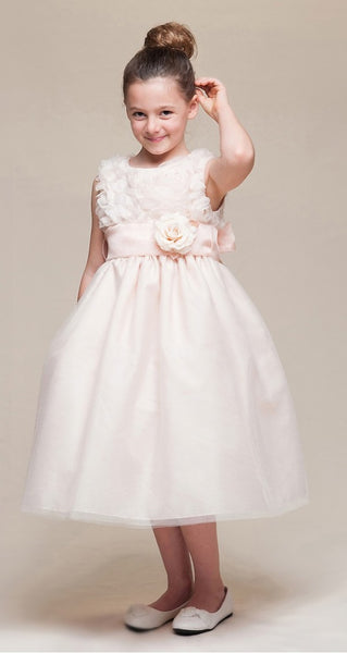 Crayon Kids Girls' Peach Floral Tulle Party Dress - Oasislync