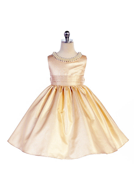 Crayon Kids Girls' Peach Gold Shimmer Party Dress - Oasislync