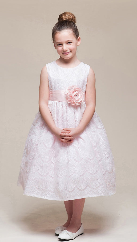 77dfb2dfae5c Crayon Kids Girls' Pink Lace Overlay Flower Girl Party Dress - Oasislync