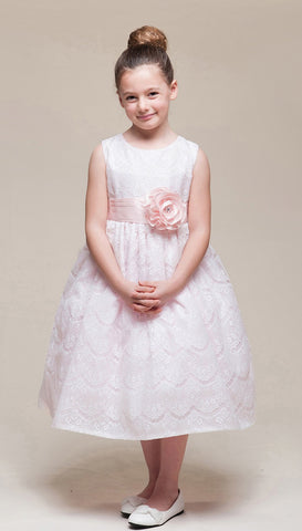 Crayon Kids Girls' Pink Lace Overlay Flower Girl Party Dress - Oasislync