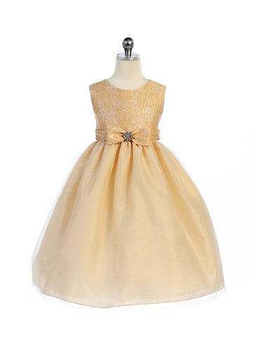 Crayon Kids Girls' Taupe Lace Textured Bodice Flower Girl Party Dress with Satin Bow - Oasislync