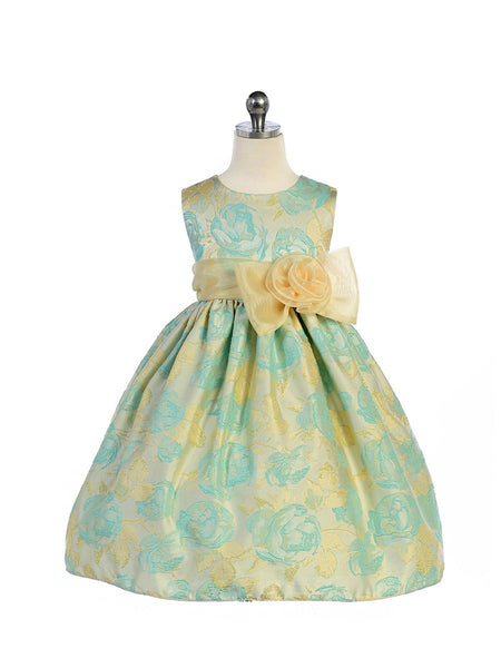 Crayon Kids Girls' Teal Ivory Flower Girl Party Dress with Bow - Oasislync