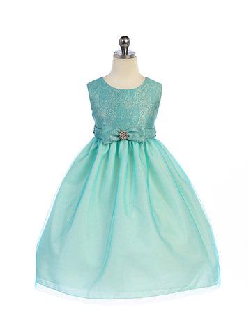 Crayon Kids Girls' Turquoise Lace Textured Bodice Flower Girl Party Dress with Satin Bow - Oasislync