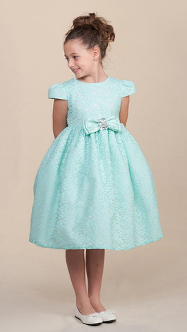 Crayon Kids Girls' Turquoise Lace Textured Flower Girl Party Dress with Cap Sleeves - Oasislync