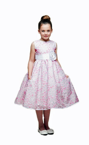 Crayon Kids Pink White Flower Girls' Party Dress with Sheer Overlay - Oasislync