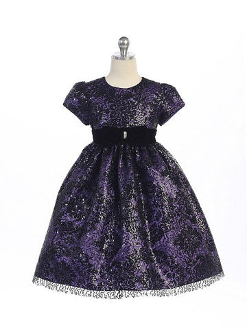 Crayon Kids Purple Black Flower Girl Party Dress with Lace Overlay - Oasislync